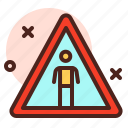 attention, direction, map, peoples, warning icon