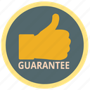guarantee, protection, safety, store, thumb, warranty icon