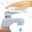 wipe, towel, cleaning, water, hand, plumber, faucet icon