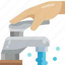 water, hand, clean, open, faucet, tap, bathroom icon