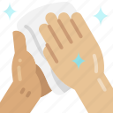 wipe, towel, hand, dry, hygiene, clean, palm icon