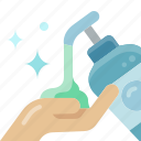 hand, wash, sanitizer, soap, gel, pouring, liquid icon