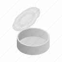 can, container, empty, garbage, isometric, metal, tin icon