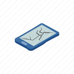 broken, cartoon, electronic, phone, recycling, technology, trash icon