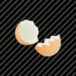 broken, cartoon, egg, eggshell, garbage, organic, shell icon