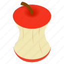 apple, ecology, garbage, isometric, refreshment, stub, stump icon
