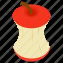 apple, ecology, garbage, isometric, refreshment, stub, stump