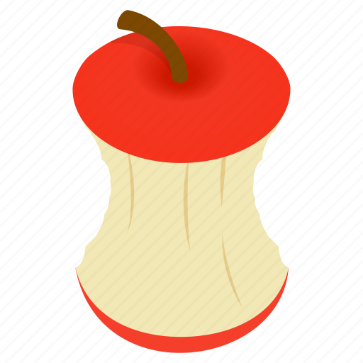 apple, ecology, garbage, isometric, refreshment, stub, stump icon