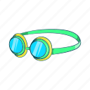 cartoon, equipment, goggles, mask, sign, sport, water icon