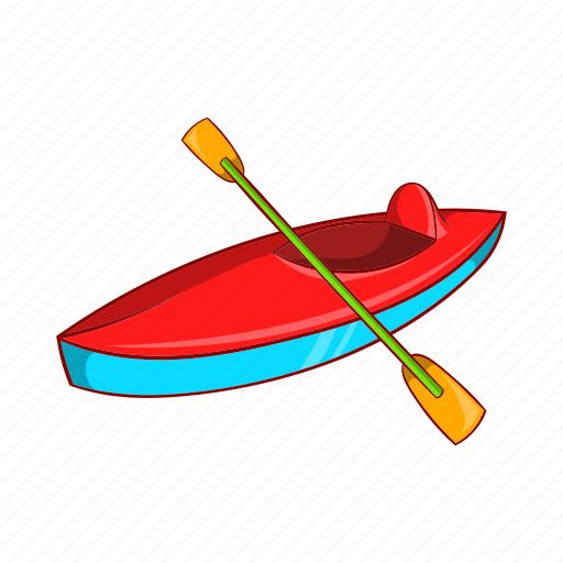 boat, canoe, cartoon, kayak, kayaking, paddle, sign icon