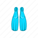 cartoon, diving, equipment, fins, sign, sport, water icon