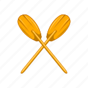 cartoon, marine, oar, paddles, sign, sport, water icon