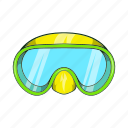 cartoon, diving, goggles, mask, sign, sport, water icon