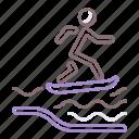 flowrider, sea, surfer, wave icon
