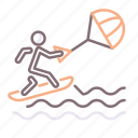 board, kite, kiteboarding, surfer icon