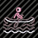 human figure, oar, rafting, water icon