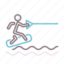 sea, surfer, wakeboarding, water icon