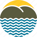 beach, island, logo, mountain, sea, water, waves