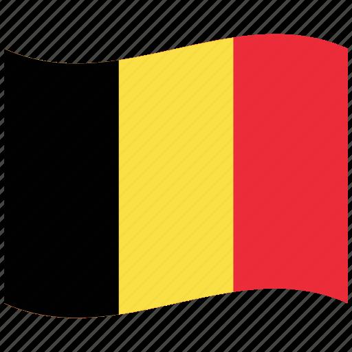 be, belgian, belgium, country, emblem, national flag, waving icon