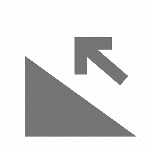 arrow, incline, ramp icon