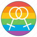 double, female, girls, lgbt, pride flag, rainbow, woman icon