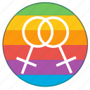 double, female, girl, lgbt, pride flag, rainbow, woman icon