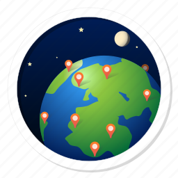 address, broad, communication, continent, earth, famous, global, globalization, international, known, map, moon, network, offices, planet, regional, space, support, world, worldwide icon
