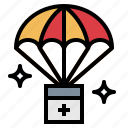 boxes, parachute, storage, warehouse icon