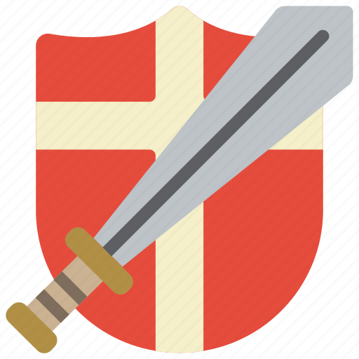 defence, medieval, shield, sword, war, weapon, weaponary icon