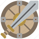 medieval, protect, shield, sword, war, weapon, weaponary icon