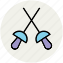 epee, fencing, foil, saber, sword fencing, swords icon
