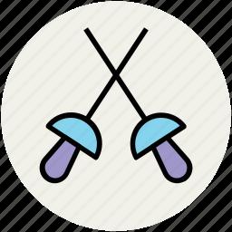 epee, fencing, foil, saber, sword fencing, swords icon