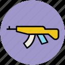 ak 47, kalashnikov, military, russian weapon, submachine gun, war weapon icon