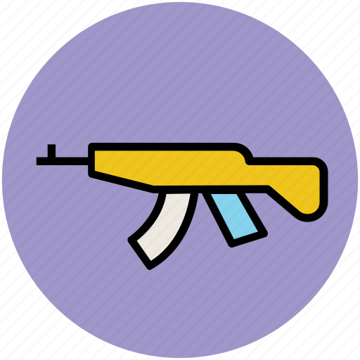 ak 47, kalashnikov, military, russian weapon, submachine gun, war weapon icon