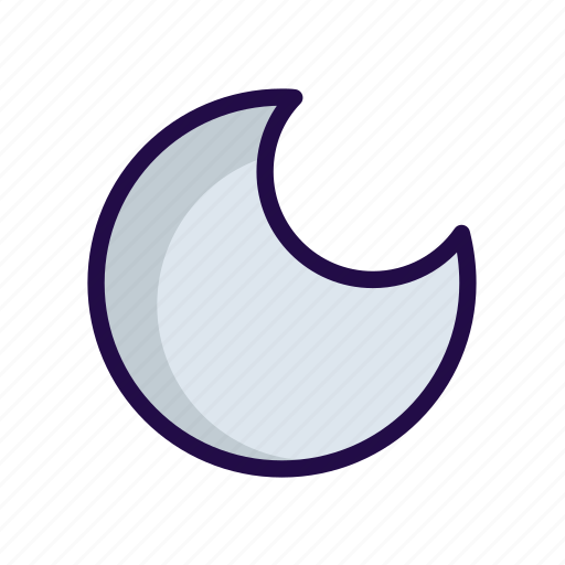 half, moon, night icon