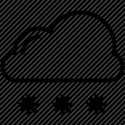 cloud, ice flakes, snow falling, snowflakes, winter season icon