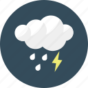 cloud, forecast, lightening, rain, rainy, shower, weather icon