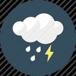 cloud, forecast, lightening, rain, rainy, shower, weather icon