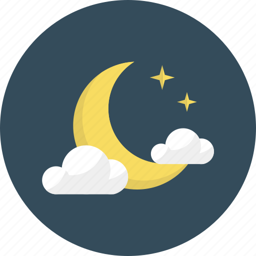 clear, cloud, cloudy, moon, night, sleep, weather icon