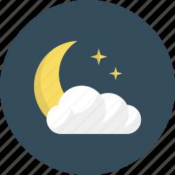 clear, cloud, cloudy, moon, night, sleep, weather icon
