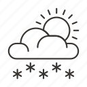 cloud, clouds, snow, snowflake, sun, weather, winter icon