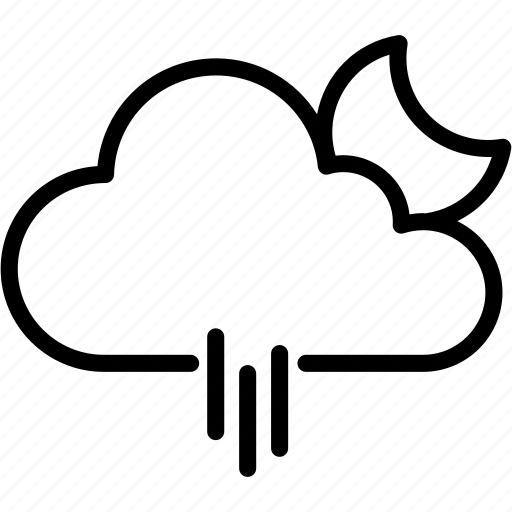 cloud, cloudy, moon, night, rain, raining, weather icon