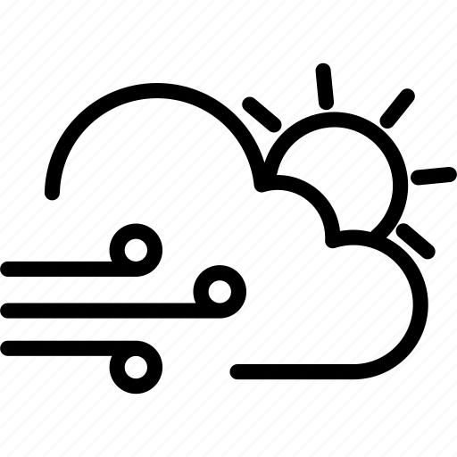 cloud, cloudy, day, sun, weather, wind icon