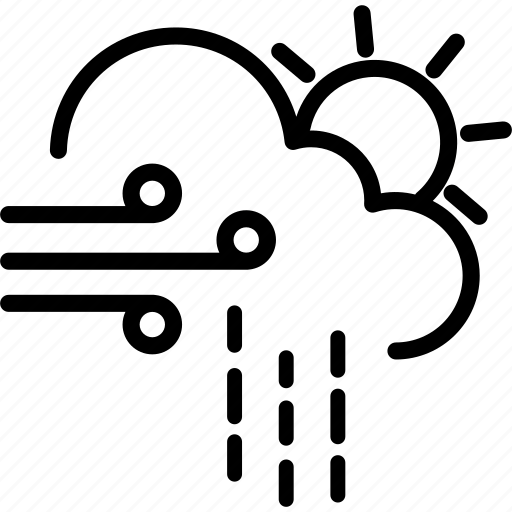 cloud, cloudy, rain, rainy, sun, weather, windy icon