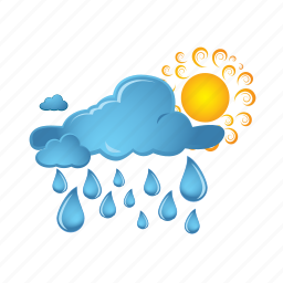 clouds, cloudy, rain, sun, sunny, weather icon