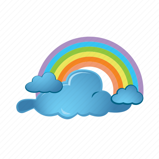 blue, cloud, forecast, rainbow, weather icon