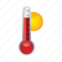 forecast, sun, temperature, thermometer, weather icon