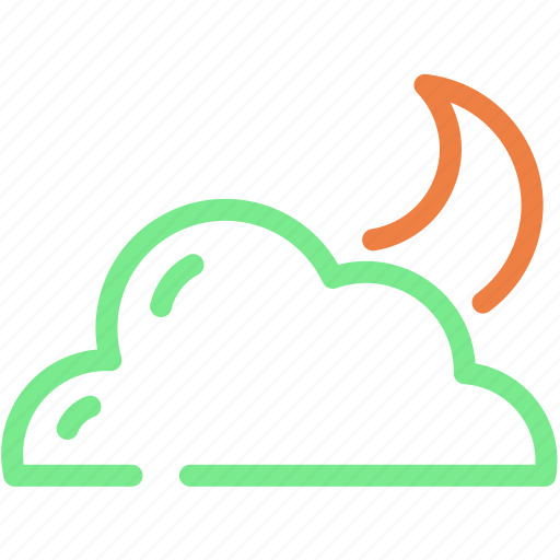 cloud, cloudy, forecast, moon, night icon