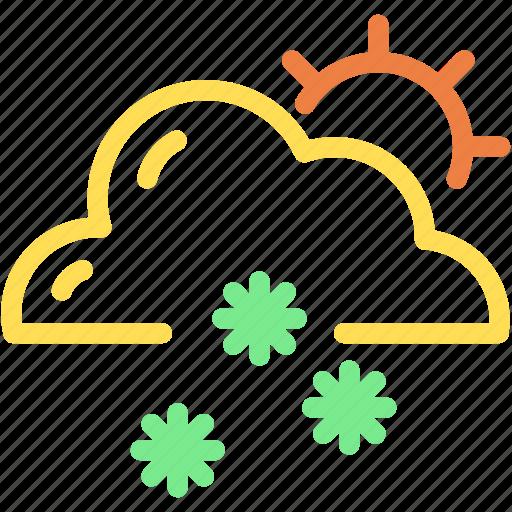 cloud, forecast, snow, snowflake, snowy, sun, winter icon