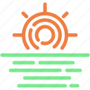 day, forecast, morning, sea, sun, sunrise icon